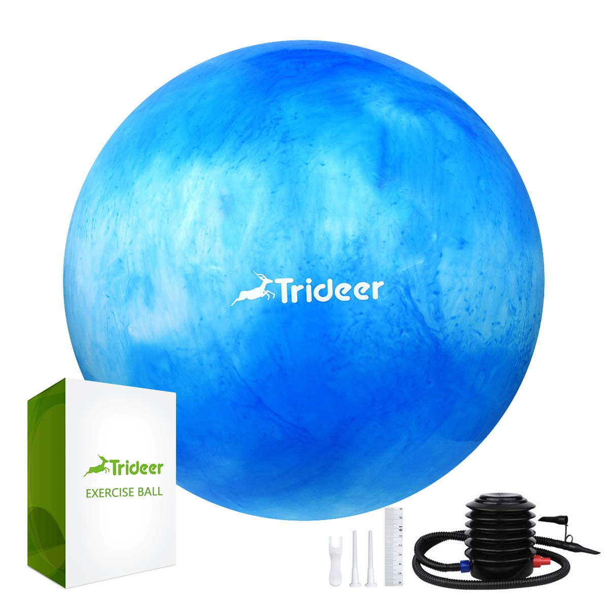 Trideer Exercise Ball (Multiple Color), Yoga Ball, Birthing Ball with Quick Pump, Anti-Burst & Extra Thick, Heavy Duty Ball Chair, Stability Ball Supports 2200lbs (B#White&Blue, M (48-55cm))