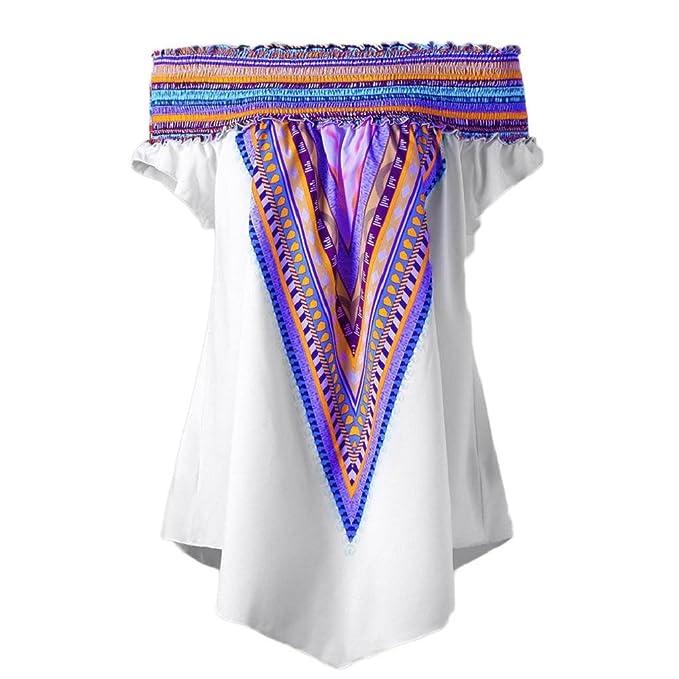 QUICKLYLY Blusas para Mujer Estampadas Verano 2018 Talla Grande Elástico Impresión Fuera del Hombro Sayo Tops
