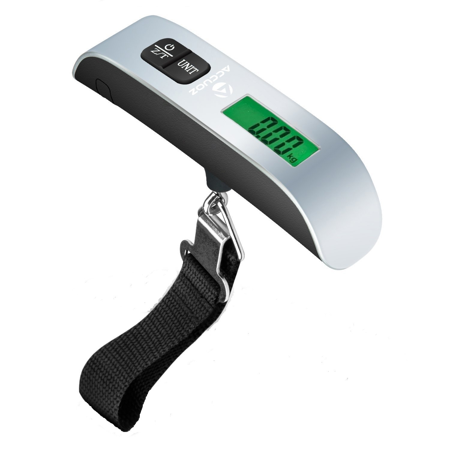 Accuoz Digital Luggage Scale w/LCD Backlight Portable Best for Travel (Silver)