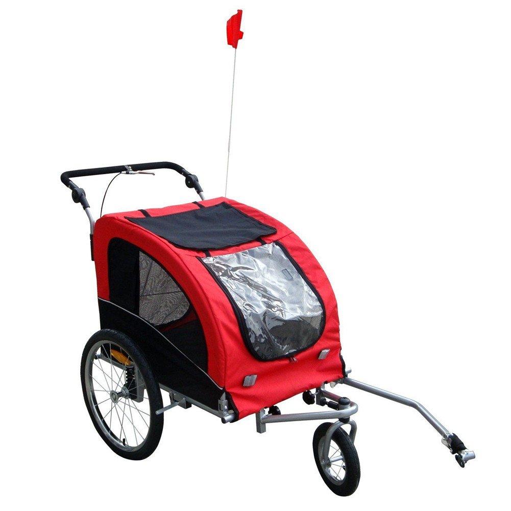 Tenive 55''L x 35''W x 42''H Pet Dog Bike Bicycle Trailer Stroller Jogger w/ Suspension (Red)