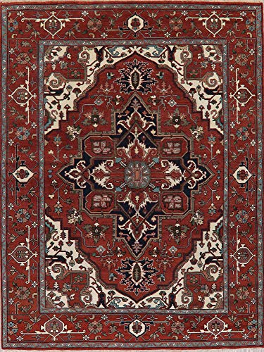 (Handmade Wool Oriental Heriz Serapi Area Rug Geometric New Carpet (12' 1