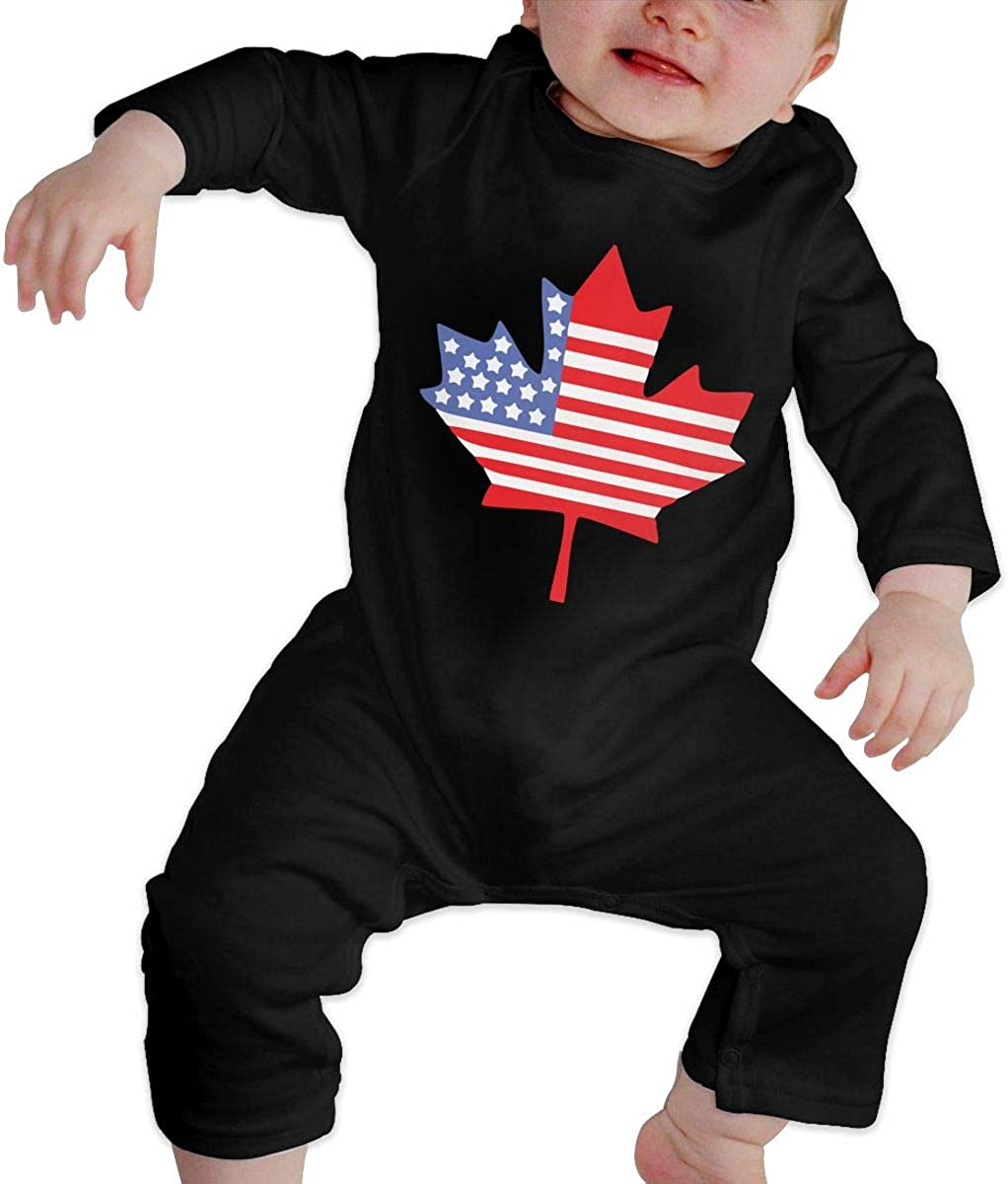 Canadian American Flag Organic One-Piece Bodysuits Coverall Outfits BKNGDG8Q Toddler Baby Boy Romper Jumpsuit