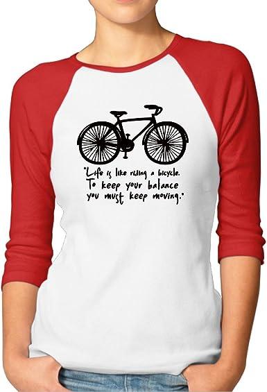 La vida es como andar en bicicleta mujeres Tops 3/4 Sleeve Raglan ...