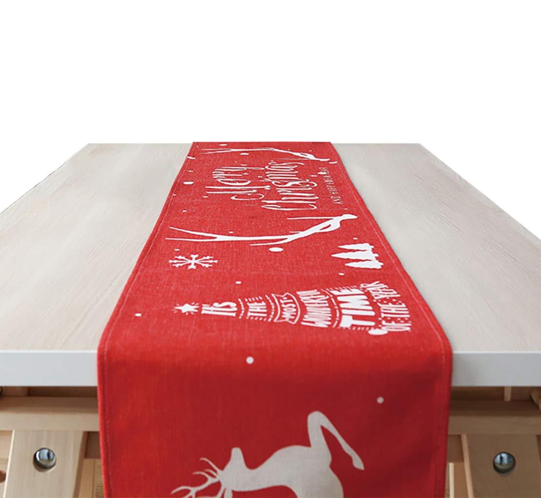 YZCX Runner da Tavola in Lino Runner Natalizio Decorazione Moderno 30x160 cm Alce Rosso