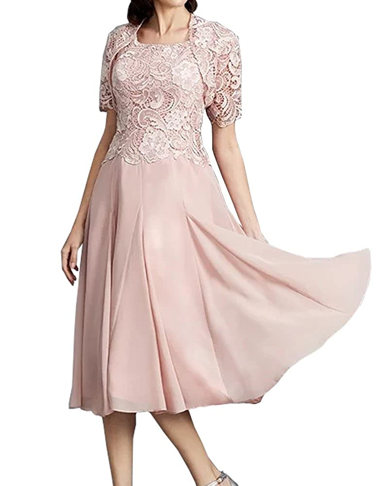 7c7eb489e46f ShineGown Pink 2 Piece Lace Mother of The Bride Chiffon Dress A-line Tea  Length  Amazon.co.uk  Clothing