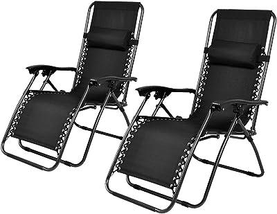 GHP Set of 2 Black Outdoor Patio Folding Recliner Zero Gravity Chair Lounge