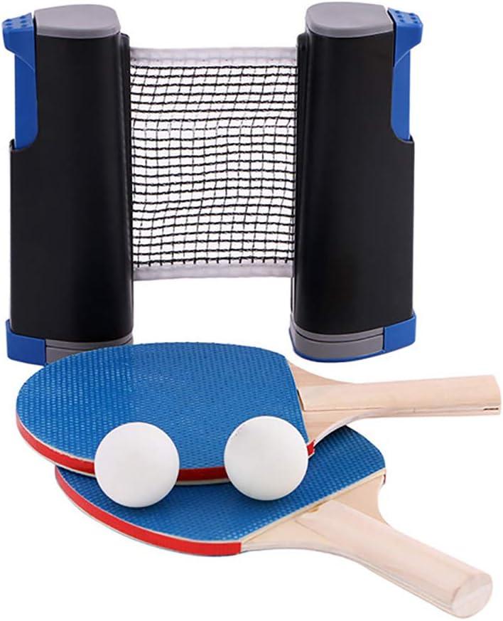 JMFHCD Pala De Tenis De Mesa Portátil Malla Net para Tenis De Mesa Raquetas Telescópica De Ping Pong Neto Rack con 1 Par De Tenis De Mesa Paleta 3 Uds Bolas Kit