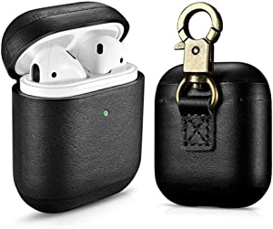 Amoysanli Leather AirPods Case, 2019 Newest Full Protective Skin Cover Accessories Kits Compatible Airpods 1&2 Charging Case with Keychain (Support Wireless Charging) (Front LED Visible) (Black)