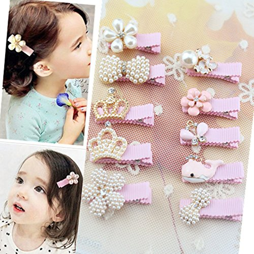 Pink Fashion Alligator (Baby Girls Boutique Cute Hair Flower Crown Bows Alligator Clips Fashion Dolphin Hair Accessories(10Pcs,Pink))