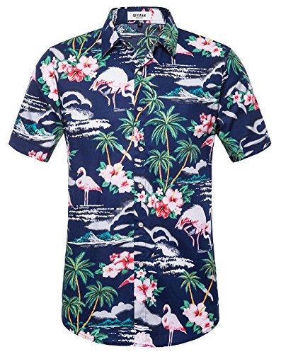 - QIYIFAN Men's Flowers Flamingos Casual Aloha Hawaiian Shirt Navy Blue XL