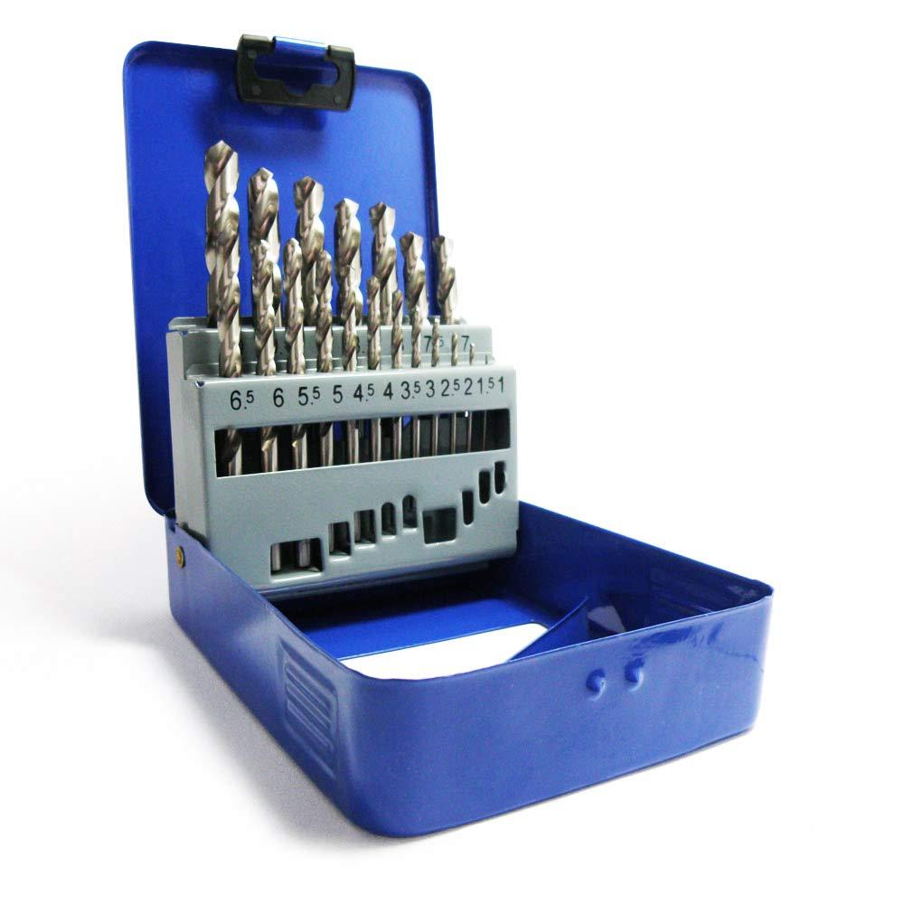 S&R Forets HSS à Métaux et Acier 1-10 mm, angle 118 °, set de 19 pièces, série GM, DIN 338, acier HSS, coffret métal. Qualité Professionnelle. angle 118 ° set de 19 pièces série GM S&R Industriewerkzeuge GmbH