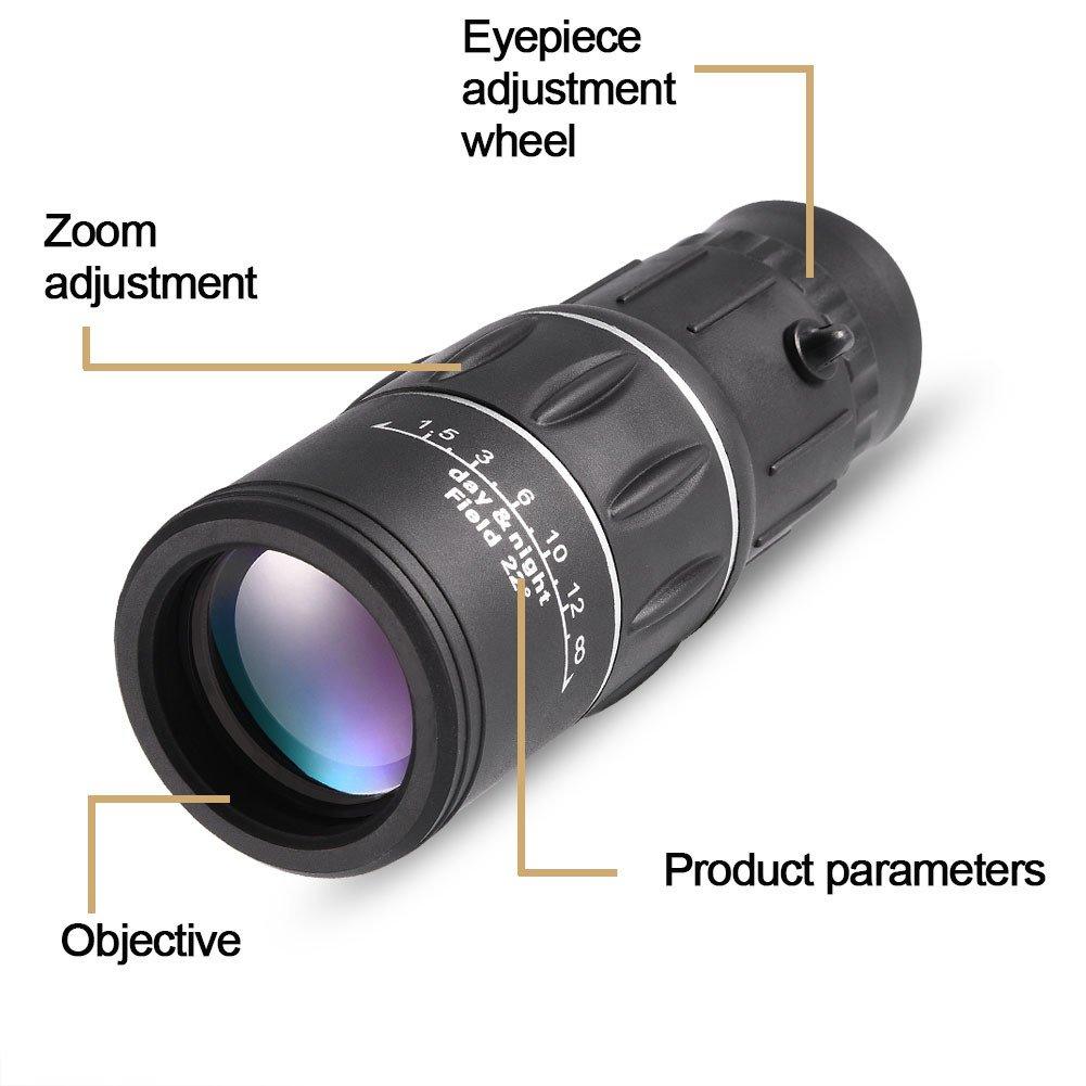 Huawei Samsung Eboxer Telescopio Monocular 16x Zoom Focus Preciso Telescopio de Tel/éfono Impermeable con Soporte para iPhone etc. XiaoMi