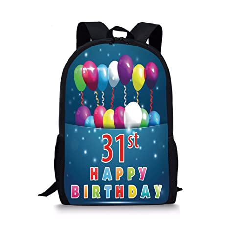 IPrint School Bags 31st Birthday DecorationsJoyful Occasion Party Theme With Colorful Balloons Flying 31