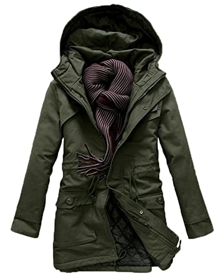 LD Mens Military Style Hooded Trench Coat Jacket Outdoors at ...