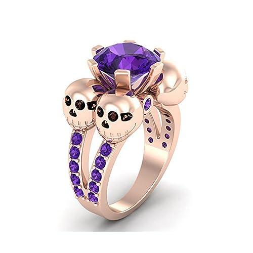 Mejor compromiso anillos de boda en 3,20 ct morado Zirconia cúbico corte redondo cristal