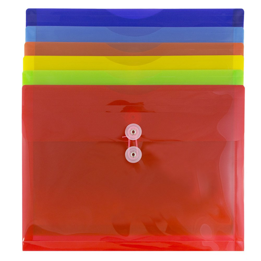 JAM Paper Plastic Envelope with Button and String Tie Closure - Letter Booklet - 9 3/4'' x 13'' - Assorted - 6/pack by JAM Paper (Image #3)