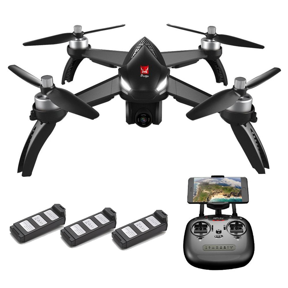 MJX Bugs 5W RC Quadcopter1080P 5G WiFi Camera Live Video 2.4GHz Remote Control Aircraft 6-Axis Gyro FPV Drone with GPS Return Home, Altitude Hold, Follow Me, 3 Battery