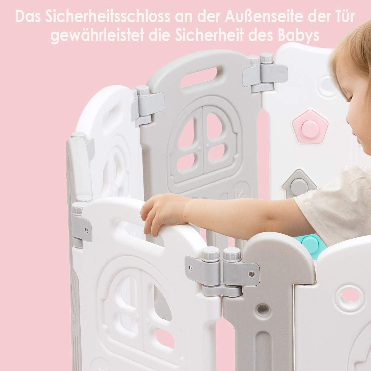 COSTWAY Baby-Laufgitter Laufstall Absperrgitter 10 Panele Babyspielbereich mit Tisch und Bank Faltbares Aktivit/ätszentrum f/ür Babys T/ür mit Sicherheitsschloss