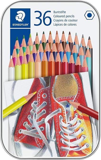 Staedtler 175M36. Lápices de colores con forma hexagonal. Caja con 36 colores variados.: Amazon.es: Oficina y papelería
