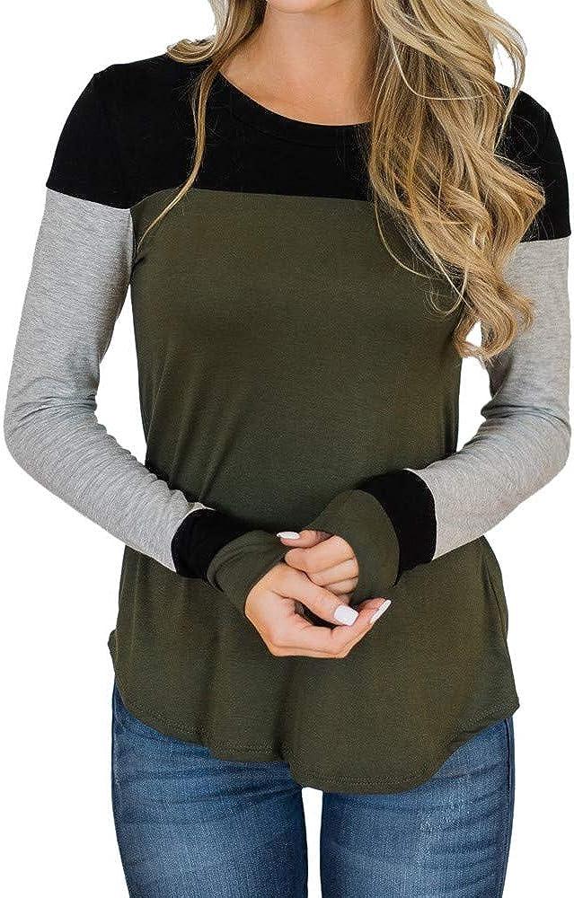 AOJIAN Women O Neck Stripe Color Block Long Sleeve Casual Tops Blouse