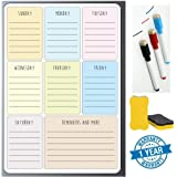 Angel Bear Magnetic Weekly Planner Board Sheet (17x11) Inches - Dry, Erase. Can Be Stuck On Refrigerator or Any Metal Surface| Includes 1x Weekly Planner Sheet, 3X Markers and 1x Eraser