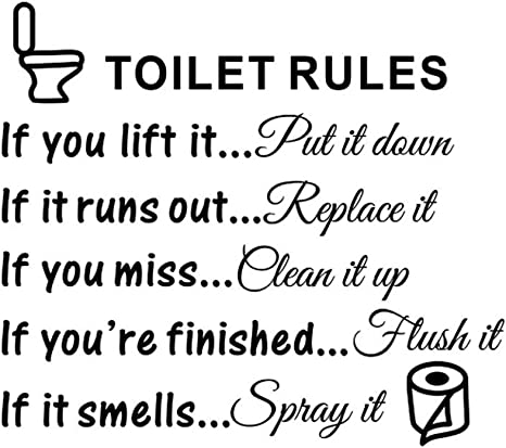 Bathroom Rules Decals Wall Quote Removable Toilet Sign Vinyl Home Decor Sticker