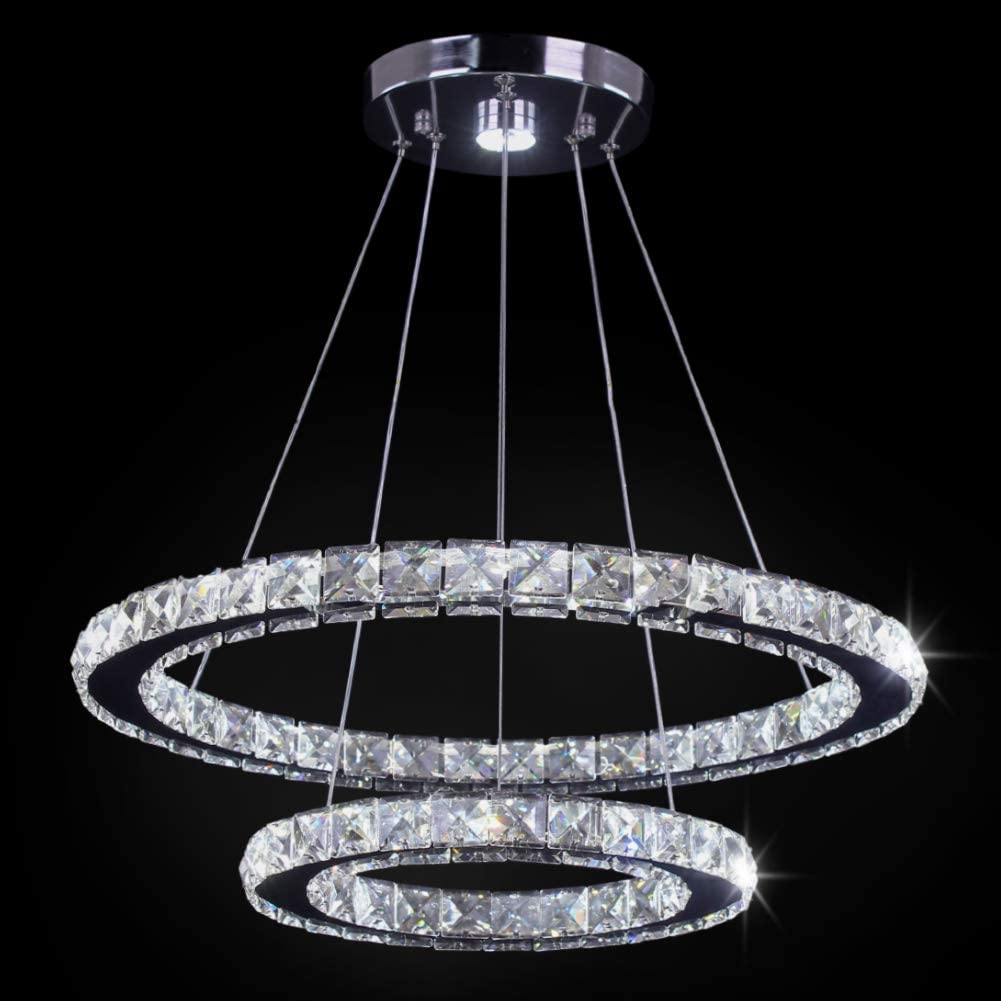 White TongLan LED Modern Crystal Chandelier 19.7 x 11.8 inches Ceiling Pendant Light 2 Rings Adjustable Stainless Steel Lighting Fixtures Dining Room Living Room