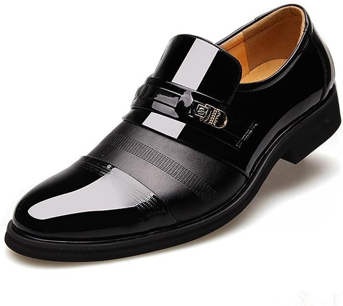 Poplover Hombre Zapatos De Vestir Planos Oxford Zapatos de Cuero Estilo Británico Comodidad Zapatos 38-48