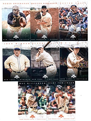2016 Diamond Kings San Francisco Giants Team Set of 8 Cards: George Kelly(#5), Mel Ott(#15), John McGraw(#41), Roger Bresnahan(#44), Buster Posey(#60), Madison Bumgarner(#86), Mac Williamson(#170), Kelby Tomlinson(#183) in 4-Pocket Collector's Album
