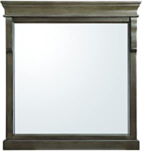 Home Decorators Collection Naples 30 in. x 32 in. Wall Mirror in Distressed Grey