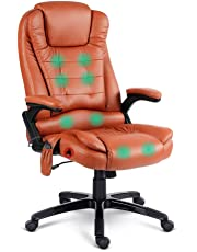 8 Point Massage Executive Office Computer Chair Heated Recliner PU Leather Black Beige White …