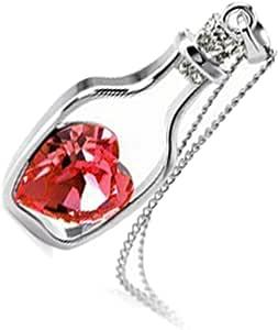 GWG Jewellery Collares Mujer Regalo Collar con Colgante, Bañado en Oro Blanco 18ct Corazón de Cristal de Colores Varios Dentro de Botella de Deseos para Mujeres
