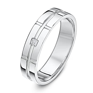 ff0077724f5 Theia Palladium 950 Highly Polished 0.03ct Diamond Set 5mm Wedding Ring   Amazon.co.uk  Jewellery