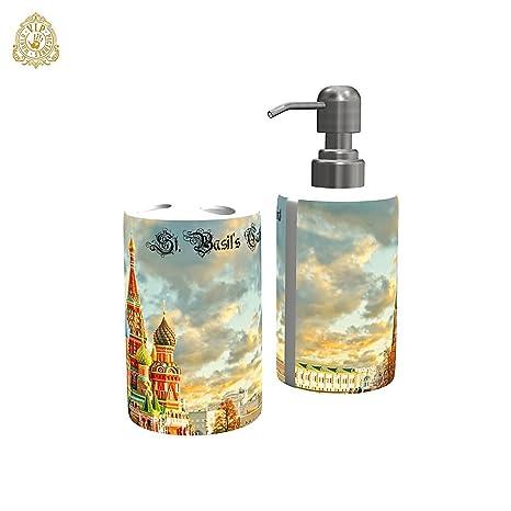 """Dispensador de jabón personalizado/Porta cepillo de dientes, , Diseño """"Catedral de"""