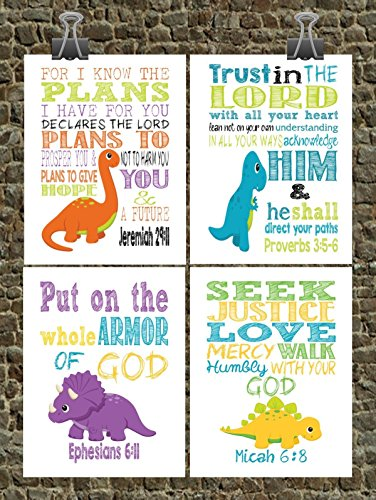 Dinosaur Set of 4 - Christian Nursery Decor - Tyrannosaurus Rex, Brontosaurus, Stegosaurus, Triceratops - Bible Verse Nursery, Playroom or Kids Room Decor