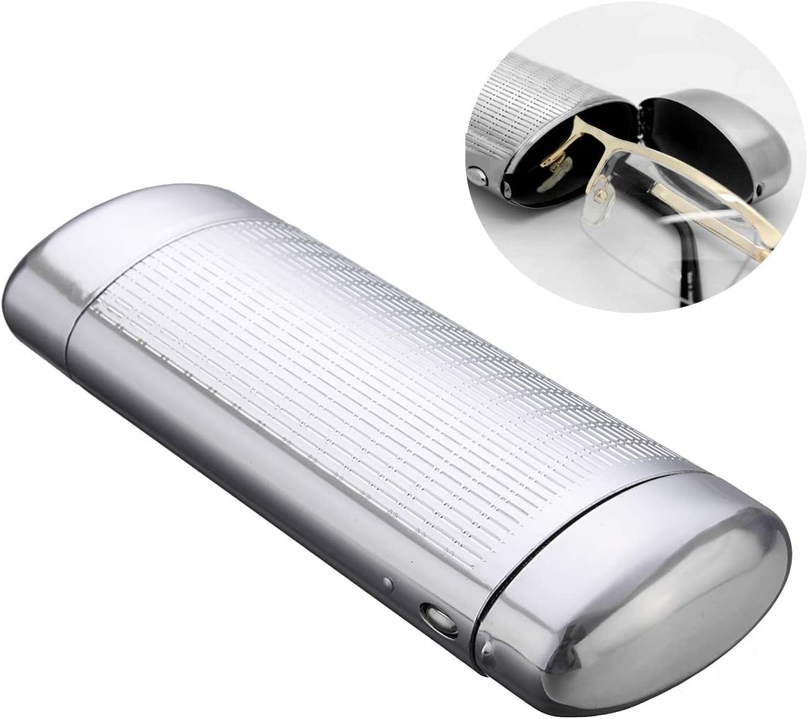 JohnnyBui 15x5.5x3cm Glasses Storage Box Silver Aluminum Metal Glasses Case Adult Medium Size Travel Portable Eyeglasses Organizers