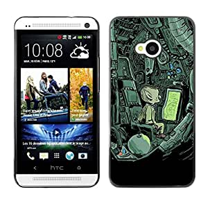 For HTC One M7,S-type® Alien Spaceship Mysterious Drawing - Arte & diseño plástico duro Fundas Cover Cubre Hard Case Cover