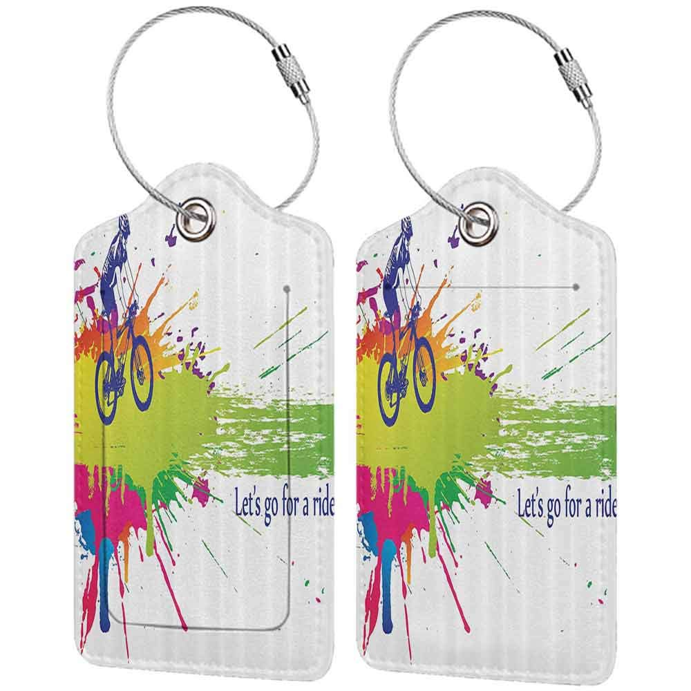 Small luggage tag Colorful Lets Ride Theme Bicycle and Biker with Splashes of Color Outdoor Activity Sport Quickly find the suitcase Multicolor W2.7 x L4.6