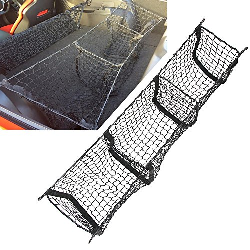 AndyGo Cargo Net Three Pocket Mesh Storage Net - Car Trunk Cargo Organizer-Universal Stretchable Trunk Cargo Net -