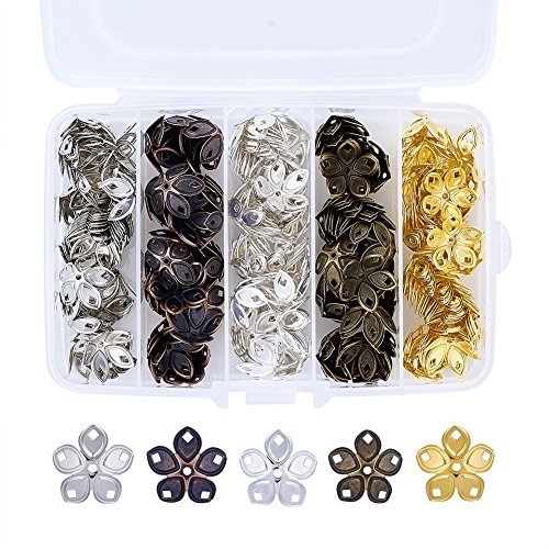 Pandahall 5-Petal Iron Filigree Flower Bead Caps 18x8mm Jewelry Making End Caps About 200pcs/box ()
