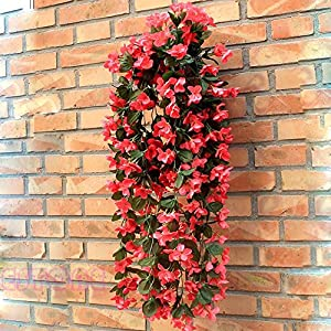 Techinal Artificial Violets Flowers, Hanging Garland Flowers Fake Violet Home Wedding Decor Vine Flowers ( Red ) 116