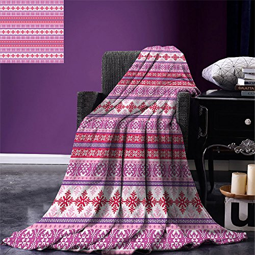 smallbeefly Nordic Digital Printing Blanket Geometric Abstract Snowflake Pattern European Ornamental Knitting Design Summer Quilt Comforter Lilac Dark Coral White (Snowflake Knitting Pattern)