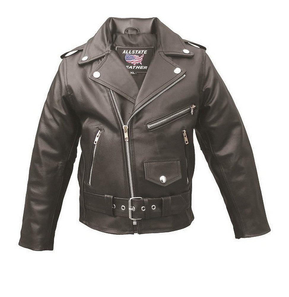 8224f61bf Amazon.com  Toddler to Kids Basic Motorcycle Leather Jacket AL2801 ...