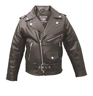 8224f61bf Amazon.com  Toddler to Kids Basic Motorcycle Leather Jacket AL2801 ...
