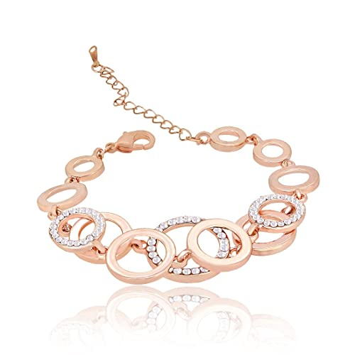 8ae2a8850ba Nakabh Rose Gold Plated Alloy Charm Bracelet Bangle for Girls and Women   Amazon.in  Jewellery