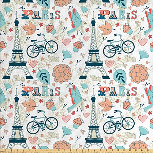 Ambesonne Paris Fabric by The Yard, Dove Cupcake Eiffel Tower Flowers Falling Leaves Love Grungy Autumn in France Theme, Decorative Fabric for Upholstery and Home Accents, 1 Yard, ()