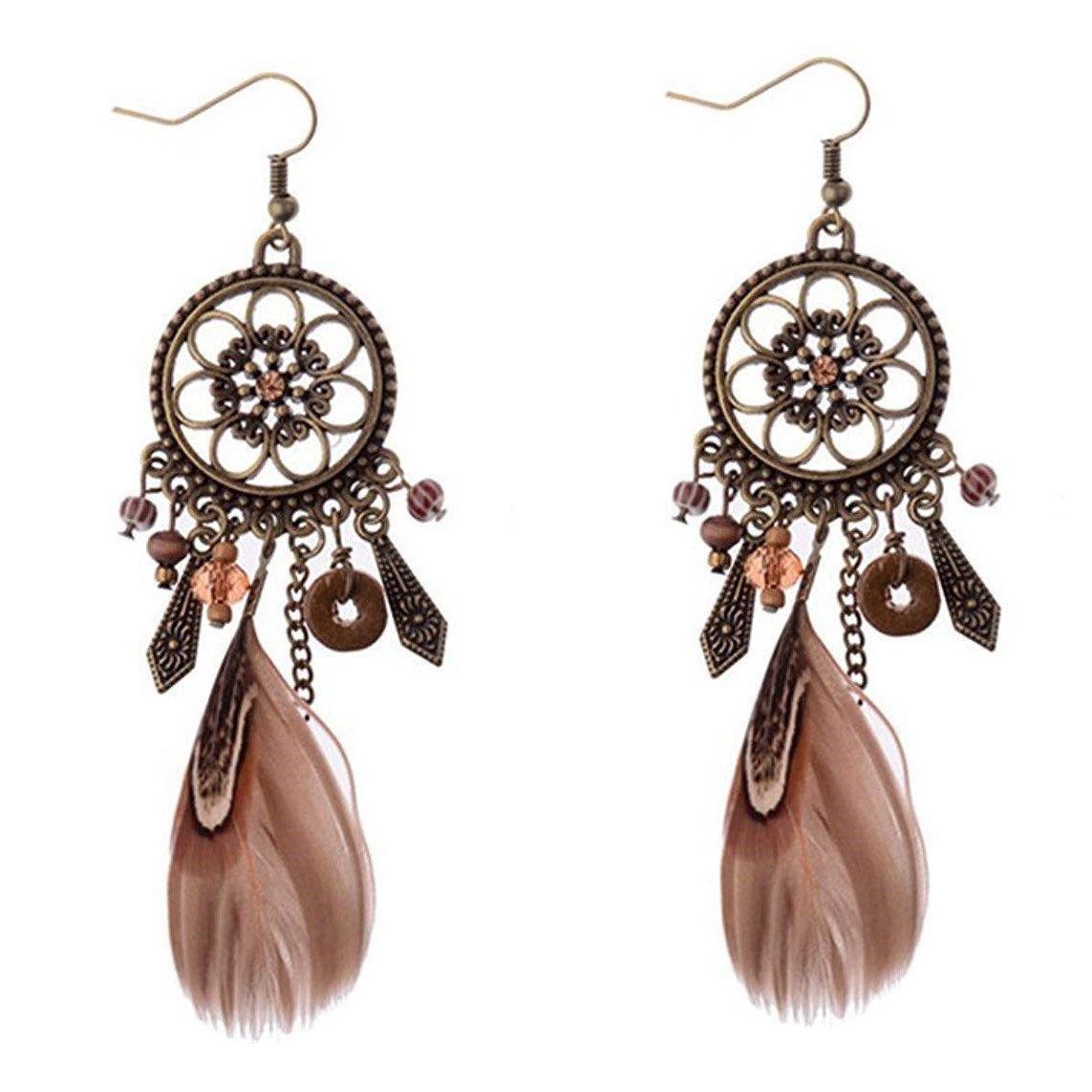 Dangle Earring Punk Vintage Long Tassel Feather Beads Drop Pendant Hook Girls