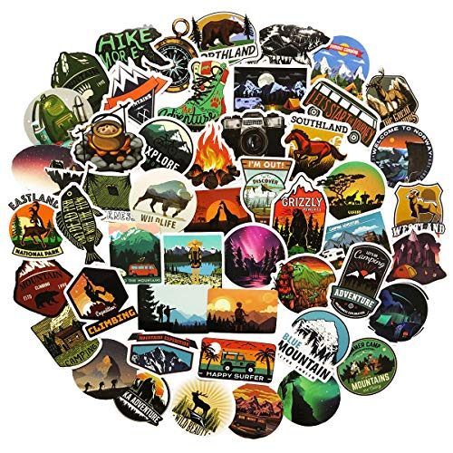 50pcs Cool Travel Stickers Wilderness Nature Outdoor Survival Stickers Car Motorcycle Bicycle Skateboard Suitcase Computer Water Bottle Mobile Phone Laptop Luggage Vinyl Bumper - Mirror Plain Wilderness