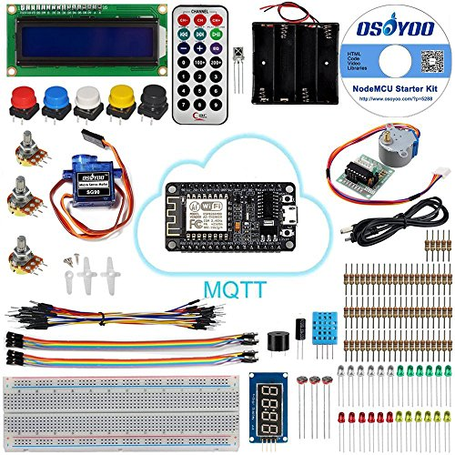 OSOYOO NodeMCU IOT Starter kit 2018 Open Source Programming Learning with NodeMCU ESP8266 WiFi Developmen board and Free Tutorial For MQTT Broker ()