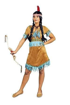 Disfraz india con flecos turquesa mujer XS: Amazon.es ...
